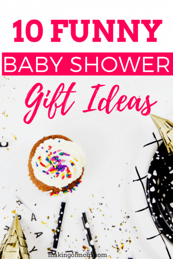 Funny baby shower gift ideas - if you're looking for a prank or gag gift for a baby shower (recommended for close friends with a sense of humor only!), check out this list! From funny onesies and pacifiers to 'the crib dribbler', you'll definitely make an impression with these.