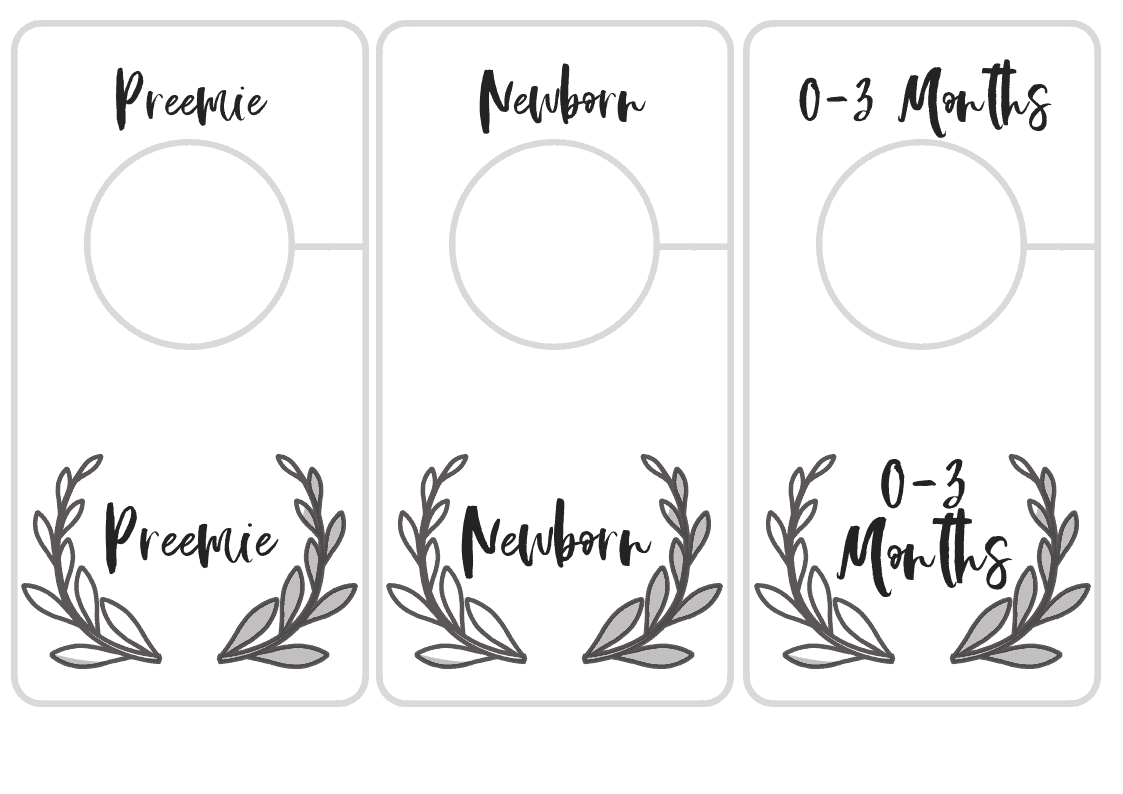 photo regarding Printable Closet Dividers named Free of charge Printable Nursery Closet Dividers - Preemie Little one toward 24