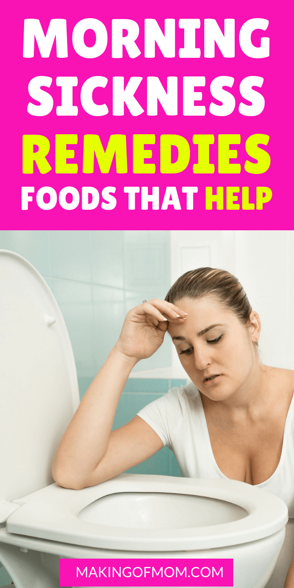 Morning sickness remedies that bust first trimester nausea. Here are over 25 foods you can eat (or add to a drink) to help fight the nausea. #morningsickness #pregnancy #firsttrimester