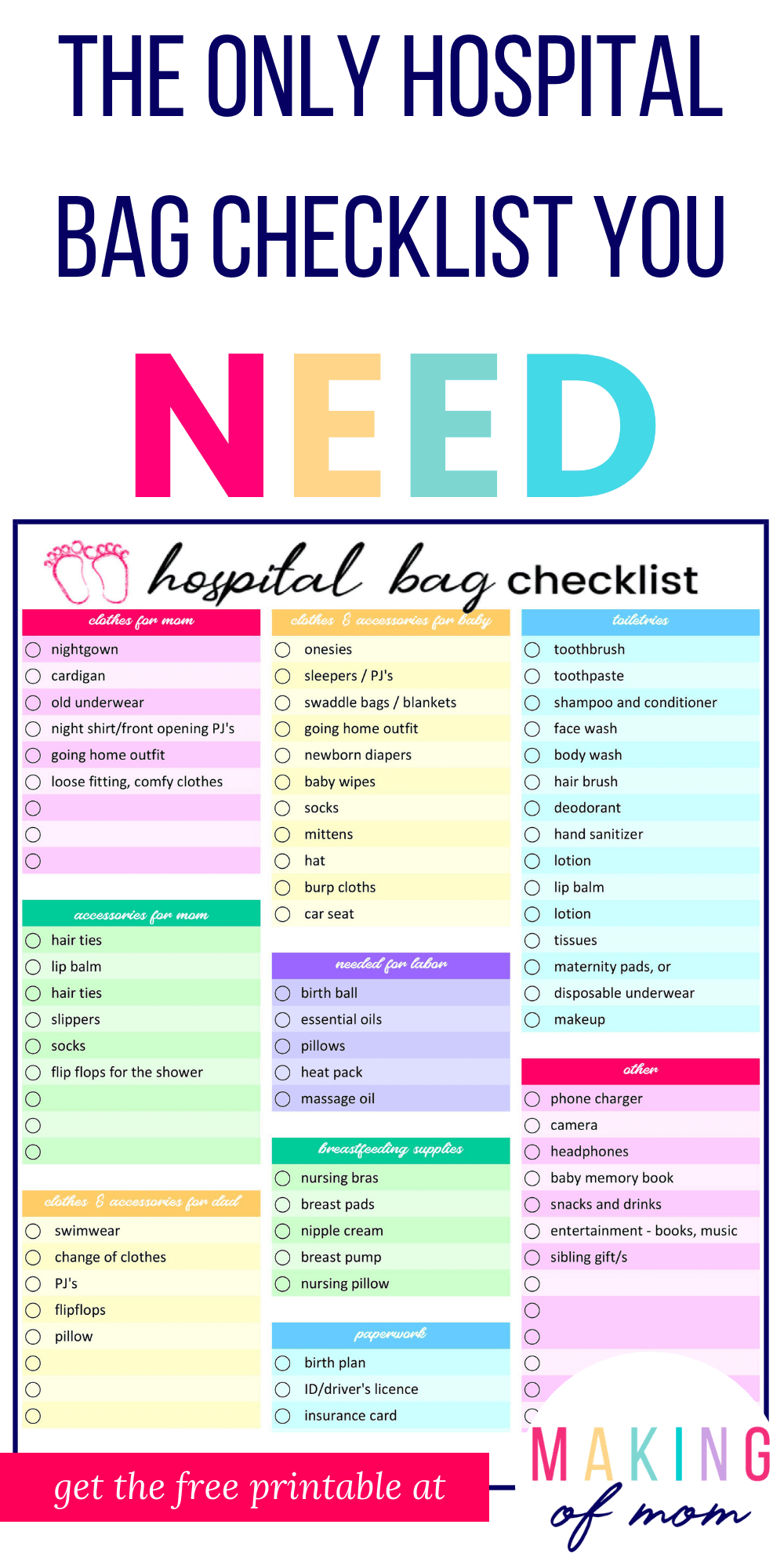 graphic relating to Printable Hospital Bag Checklist identified as medical center-bag-listing-printable (2) - Manufacturing of Mother